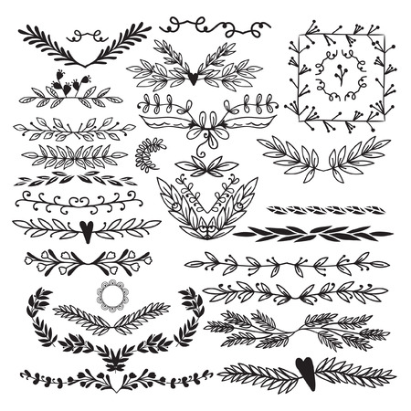 Large Collection of decorative elements. Elements from different branches with berries, deciduous and coniferous. Background white, made in the doodle. Ilustração