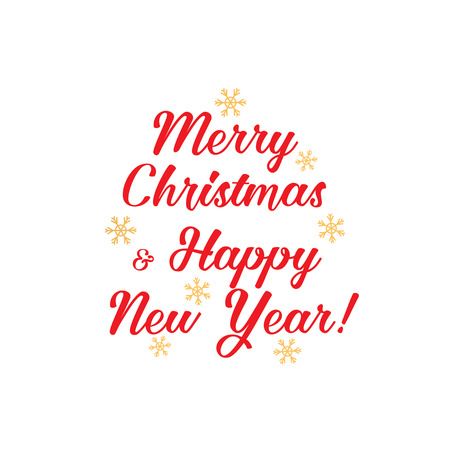 gold snowflakes: Merry Christmas and Happy New Year in red letters, and gold snowflakes.