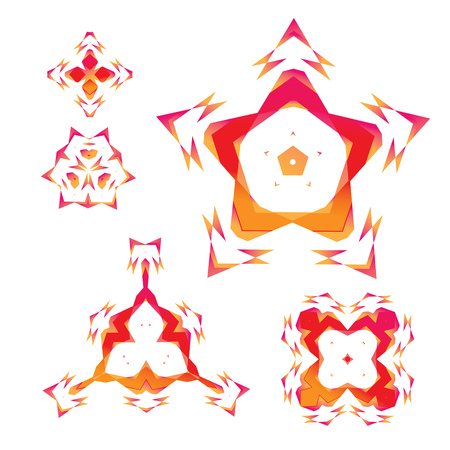 set of abstract geometrical figures mirrored in different direct