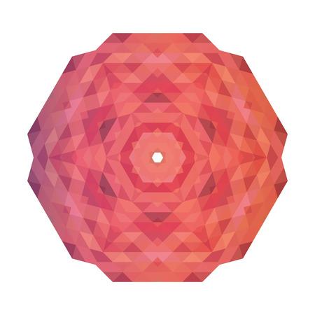 Abstract geometric snowflake pattern. Layout pink snowflakes on Ilustração
