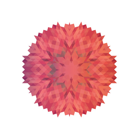 Abstract geometric snowflake pattern. Layout pink snowflakes on Illustration