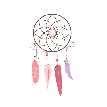 dream catcher with feathers pink on a white background Illustration