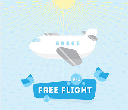 illustration of a plane and Leil to label, kids style the rays o Banco de Imagens - 71880255