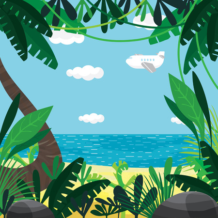 illustration about summer, beach, plants, sea, sky Illustration