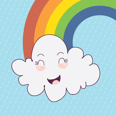 Cute happy cloud with colorful rain drops.Rainbow vector background. Cloud vector. Good weather design. Happy rain.