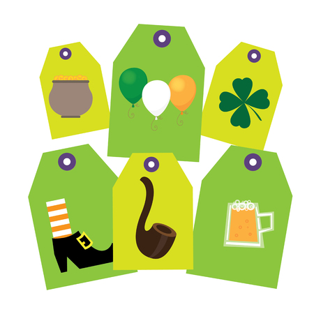 Set of Six different tags St. Patrick. They contain different holiday symbols hat boots, rainbow.