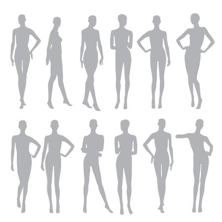 black silhouettes dummies fashion store Illustration