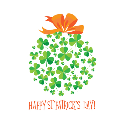 eire: Happy Saint Patricks Day scatter shamrock card. Illustration