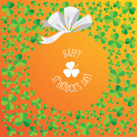 eire: Happy Saint Patricks Day scatter shamrock card. Stock Photo
