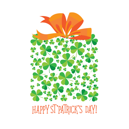Happy Saint Patricks Day scatter shamrock card. Stock Photo