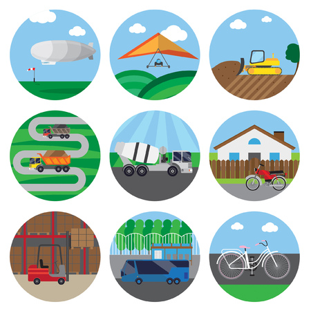 patio set: Set of icons of transport