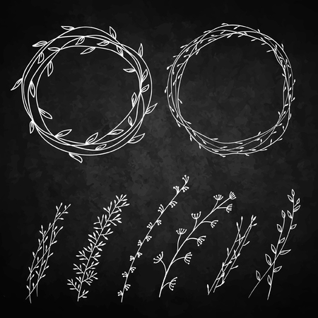 Set of decorative doodle wreaths made of branches.