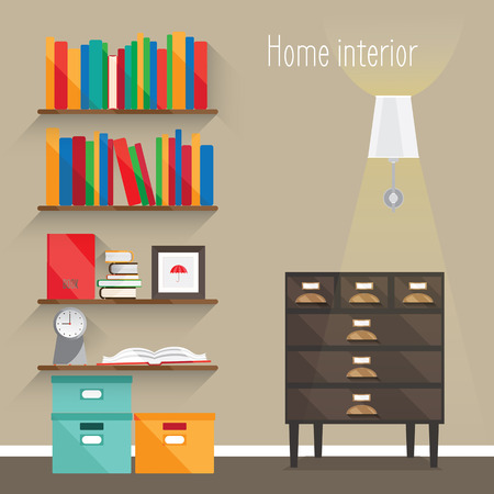 Flat interior illustrations. Shown room with chest of drawers, lamp, shelves, books, boxes, clocks