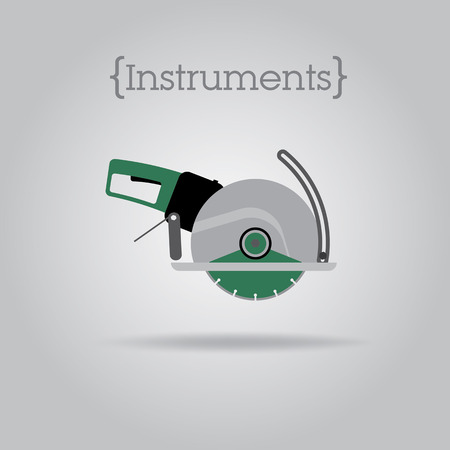 Green circular chainsaw on a grey background Illustration