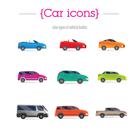 cabrio: set of car bodies. Includes convertible, sedan, minivan, station wagon, and others. performed flat. Background green.