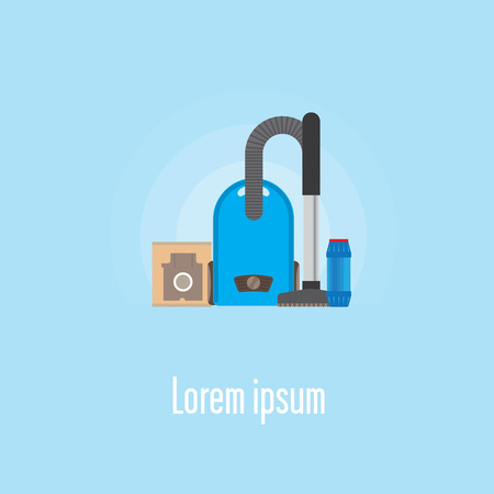 Layout Template about cleaning. Layout with different objects inside. Vacuum replacement bag and other objects. Illustration