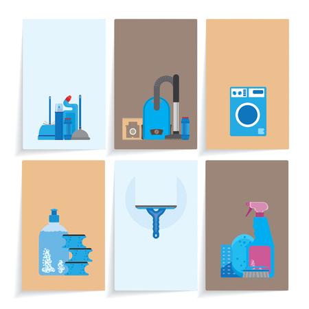 seis tarjetas de presentación con diferentes productos de limpieza