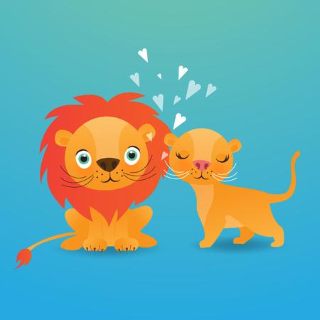 Cute lion cartoon on blue background vector illustration.