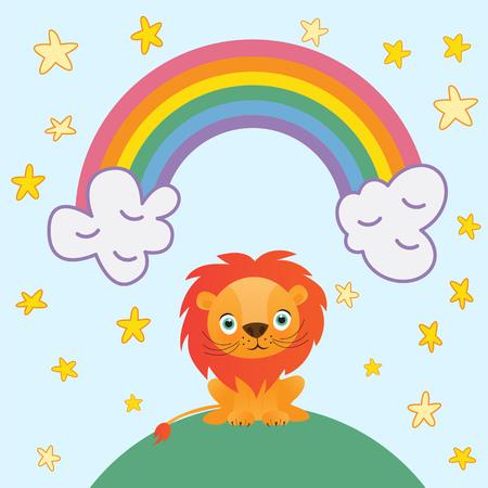 Cute lion cartoon on rainbow background and stars vector illustration.