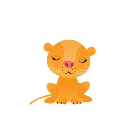 Cute lion cartoon on white background vector illustration.