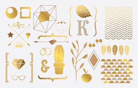 Set of gold elements for design