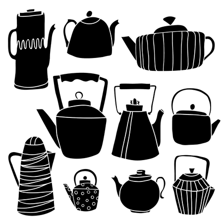 A set of hand drawing tea. Kettles are different in shape, size, pattern, stripe, peas, metal. white background, black silhouettes Ilustração