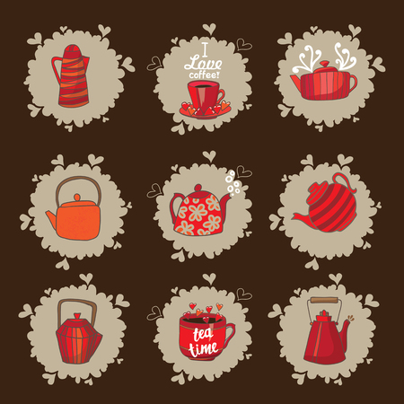 Set of teapots and mugs. Done in red color scheme. Kettles hand drawing. Cups and kettles are available on beige spots. Background brown.