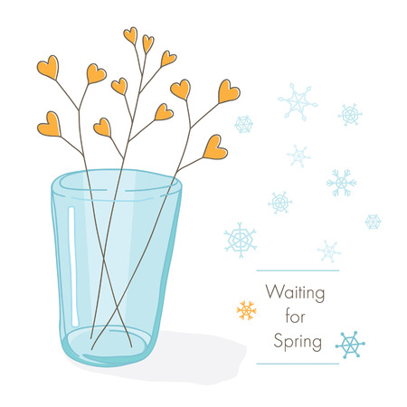 mason: Romantic card. Greeting card with branches in a glass, snowflakes and inscription waiting for spring. Background white, pastel-colored cards. Illustration