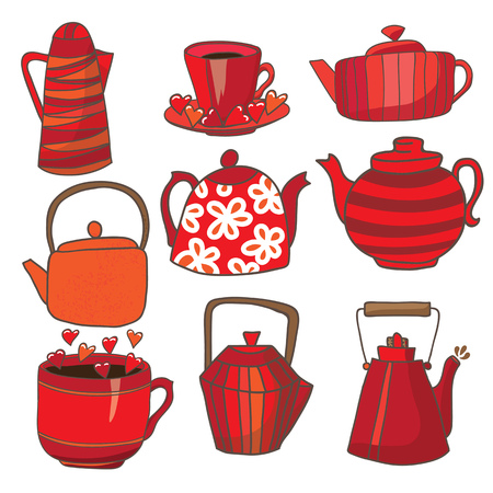 Set of teapots and mugs. Done in red color scheme. Kettles hand drawing. Background white.