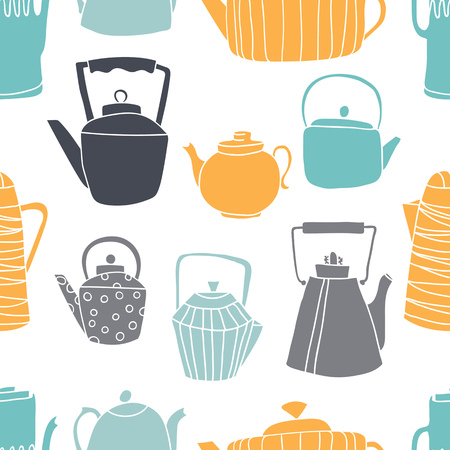 Seamless pattern with teapots. Teapots all shapes and sizes, different design. Background white.