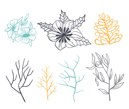 Set of branches and flowers for decoration. Done in pastel colors. Illustration