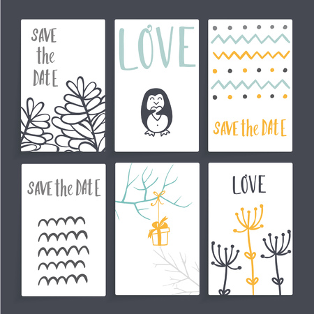 Wedding card with floral decorations. Six cards with different design, includes branches, gift, dill, penguin, zigzags. white cards, dark gray background.