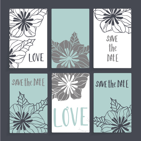 Wedding card with floral decorations. Six cards with different design includes flowers, leaves and inscriptions. Cards white and blue, dark gray background.