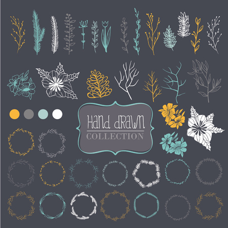 Large collection of items for decoration.It includes branches, wreaths, flowers and leaves. Hand drawing. Dark gray background.