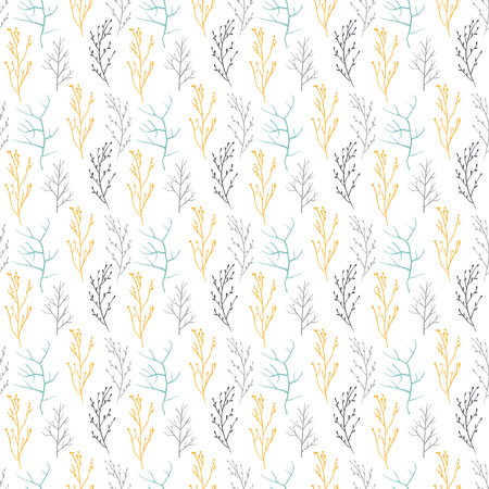 Seamless pattern of different branches of the trees.It contains branches of different colors, shapes and sizes. branch of yellow, gray and blue. White background. Ilustração