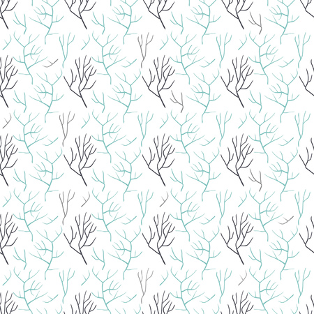 Seamless pattern of bare tree branches. It contains the bare branches of different colors, shapes and sizes. The branches are gray and blue. White background. Ilustração