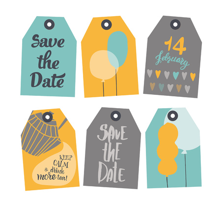 set of tags. It consists of six tags with different design. Tags are yellow, blue and gray. There are balloons, hearts, inscriptions. Ilustração