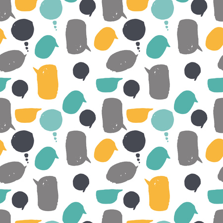 Seamless pattern of the speech bubble. It contains several different colors, shapes and sizes. Speech bubbles yellow, gray and blue. White background.