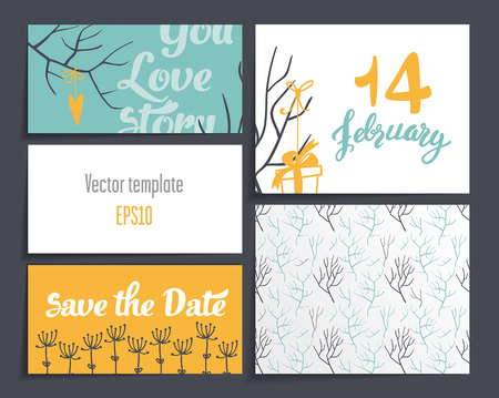 Cards Valentines Day.It contains template design four cards and one blank. decorated with branches, hearts, gifts with ribbons. Dark gray background. Ilustração