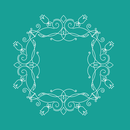 Monogram frame.It consists of lines of different types of spirals, curves, intersections. Background blue, white monogram.