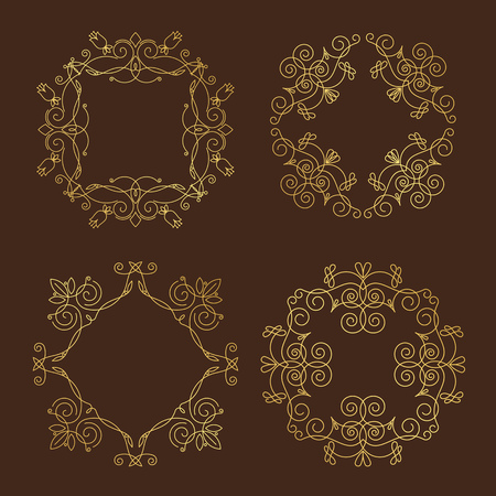 Collection of four monograms. gold design pattern on a brown background. Traced vegetable theme lines, curves, intersections resemble the branches of plants. Illustration