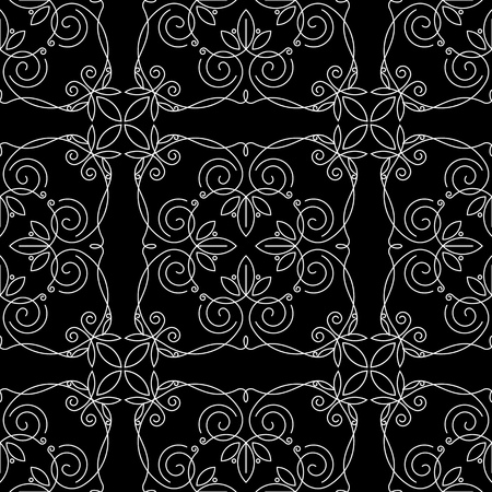 Seamless pattern of monograms. White drawing of a pattern on a black background. traced vegetable theme lines, curves, intersections resemble the branches of plants.