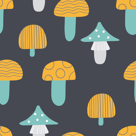 Seamless pattern of mushrooms. Multicolored mushrooms on a dark background, painted in the style of doodle.