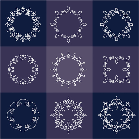 Collection of nine monograms. White on blue background. The geometry of the thematic lines, curves, intersections of lines, spiral elements of the same thickness. Ilustração