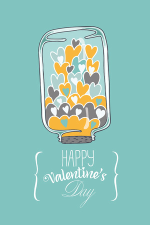 Postcard to the day of Valentine. card contains an inverted jar with hearts and the words