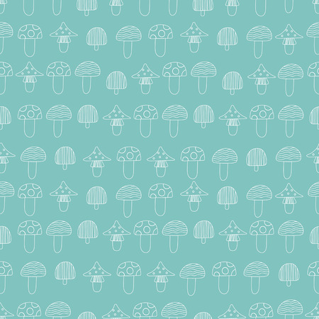 Seamless pattern of mushrooms. White mushrooms on line turquoise background, painted in the style of doodle. Ilustração