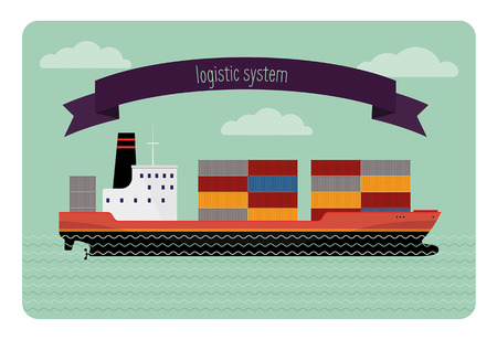 Tanker container. The flat illustration modern transport ship loaded with containers. It contains tape with an inscription.