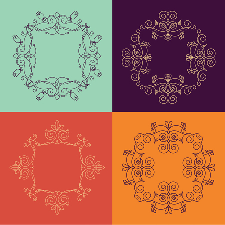 Collection of four monograms.  colorful monogram on a colorful background. Monogram of lines, curves, intersections resemble the branches of plants.