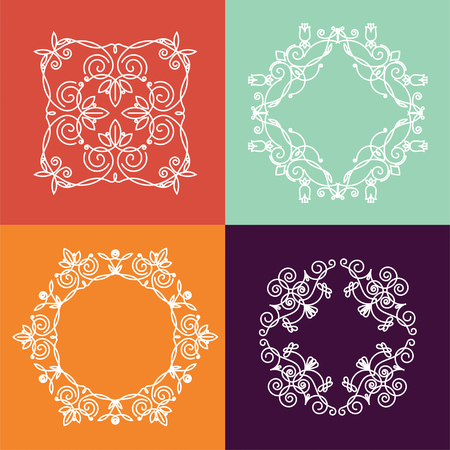 Collection of four monograms. White monogram on a colorful background. Monogram of lines, curves, intersections resemble the branches of plants.