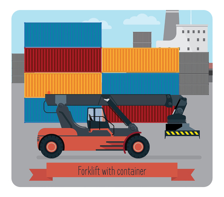 Forklift with container. The background shows a port terminal, part of the ship, a plurality of containers.